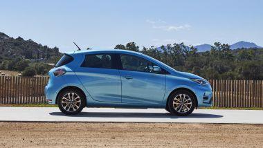 Renault Zoe, la prova su strada: visuale laterale