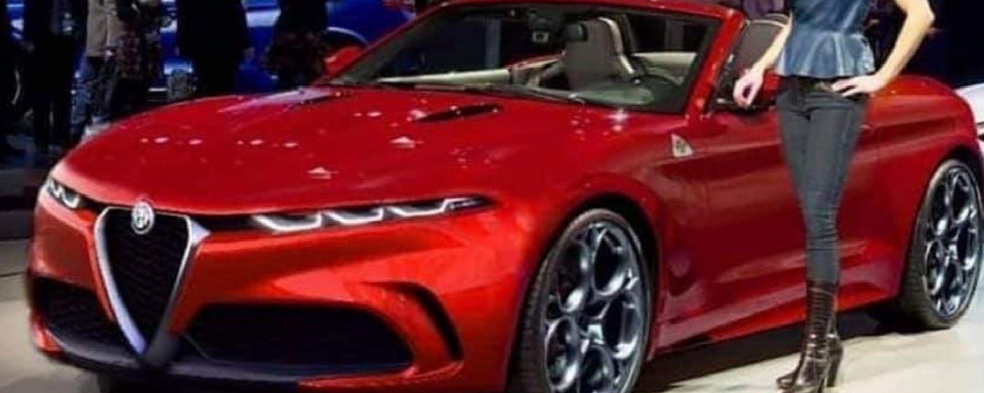 Rendering Alfa Romeo Spider: particolare dell'anteriore