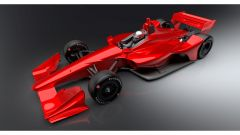 Rendering Dallara IndyCar 2018: vista 3/4 anteriore