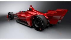 Rendering Dallara IndyCar 2018: vista 3/4 posteriore