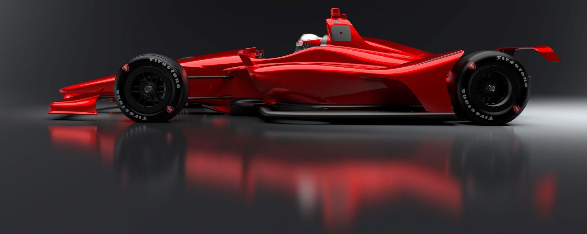 Rendering Dallara IndyCar 2018: vista laterale