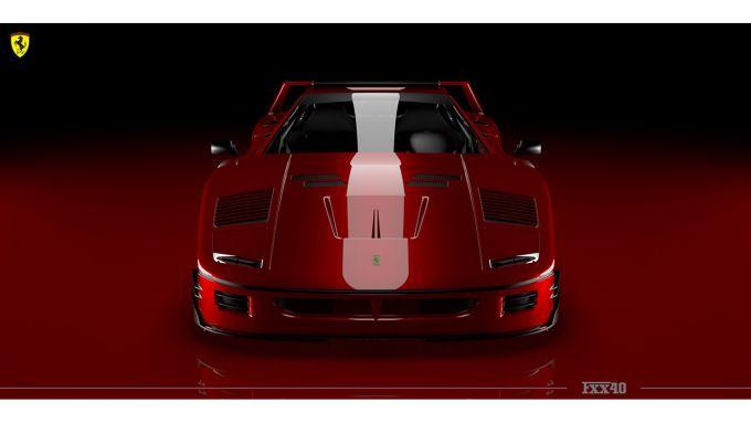 Rendering Ferrari FXX40: il frontale aggressivo della supercar italiana
