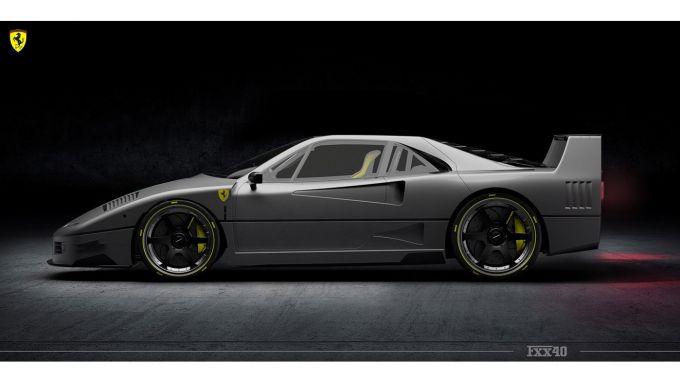 Rendering Ferrari FXX40: il profilo mostra la somiglianza con l'originale