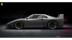 Rendering Ferrari FXX40: il profilo non si allontana dall'originale anni '80