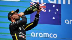 """Ricciardo, podio senza shoey: """"Me ne sono dimenticato!"""""""