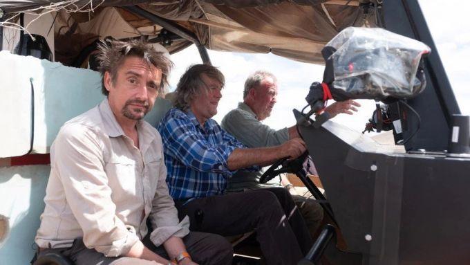 Richard Hammond, Jeremy Clarkson e James May durante le riprese di The Grand Tour Presents: Seamen