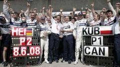 Robert Kubica e Nick Heidfeld festeggiano con il team BMW Sauber la doppietta in Canada nel 2008