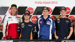 Rossi (Ducati), Pedrosa (Honda), Lorenzo (Yamaha) e Stoner (Honda) a Phillip Island 2012