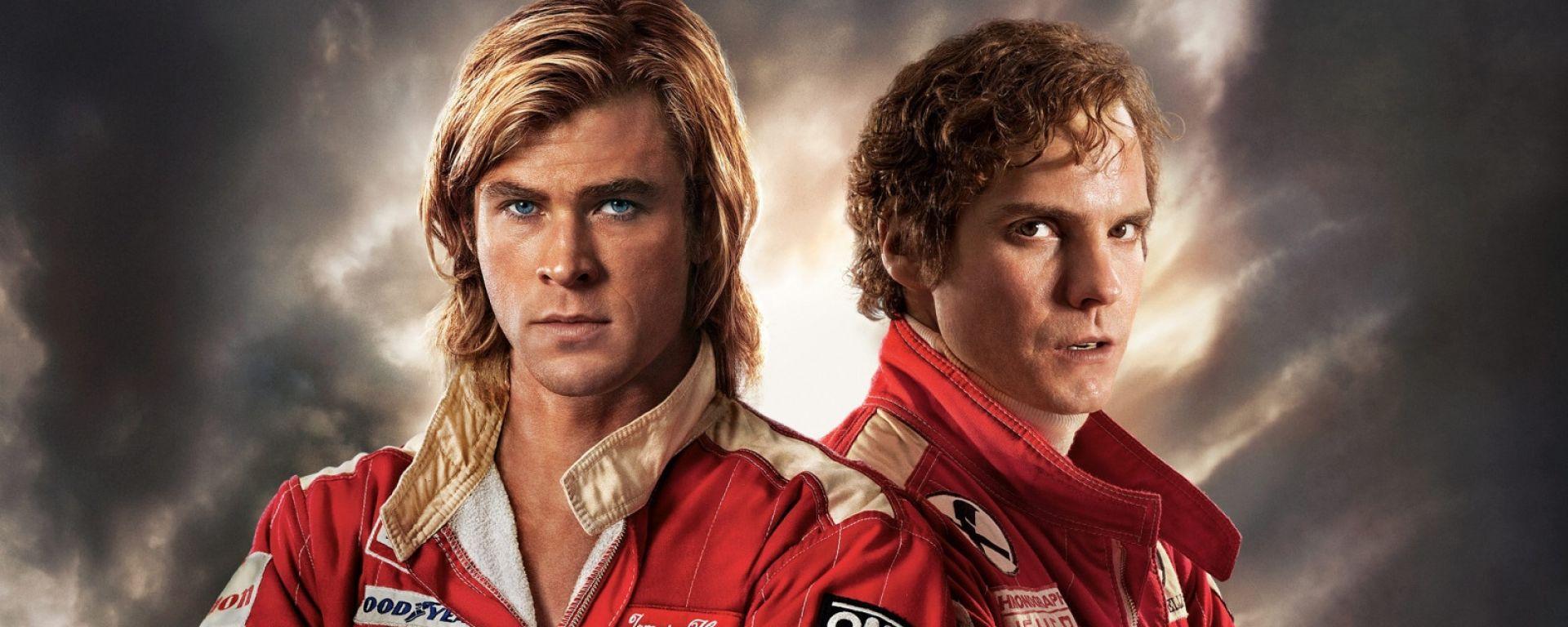 Rush con Chris Hemsworth (James Hunt) e Daniel Bruehl (Niki Lauda)