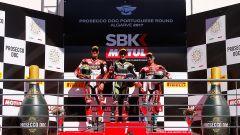 SBK Portimao 2017, il podio di Gara 1