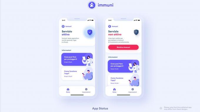Schermata di stato di Immuni