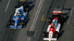 Schumacher e Hakkinen in azione a Macao nel 1990