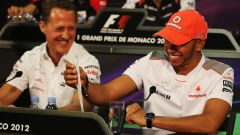 Schumacher e Hamilton in conferenza stampa nel 2012