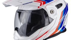SCORPION: CASCO ADX-1 CON GRAFICA ANIMA, VARIANTE DI COLORE WHITE/BLUE/RED