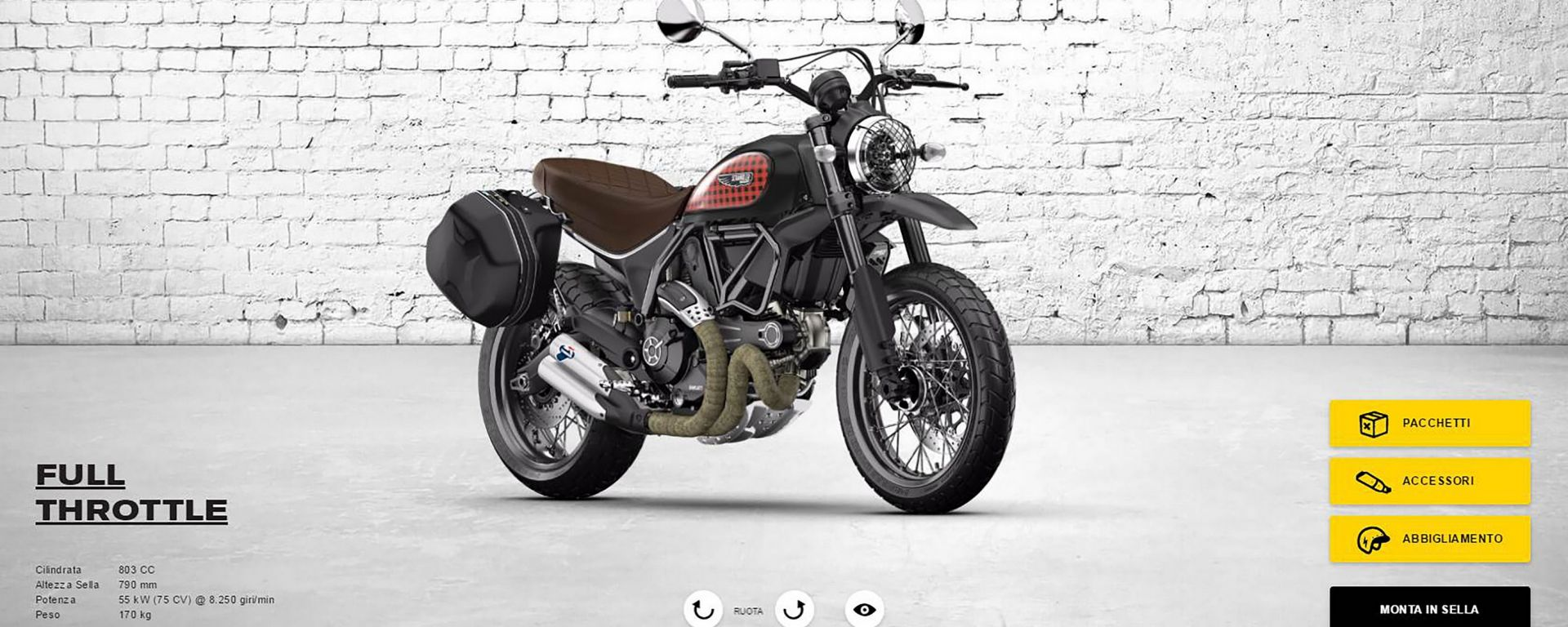 Scrambler Ducati: il nuovo configuratore offre 11 diversi punti di vista, tra cui quello del pilota