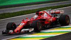 Sebastian Vettel al volante della SF70H in Brasile