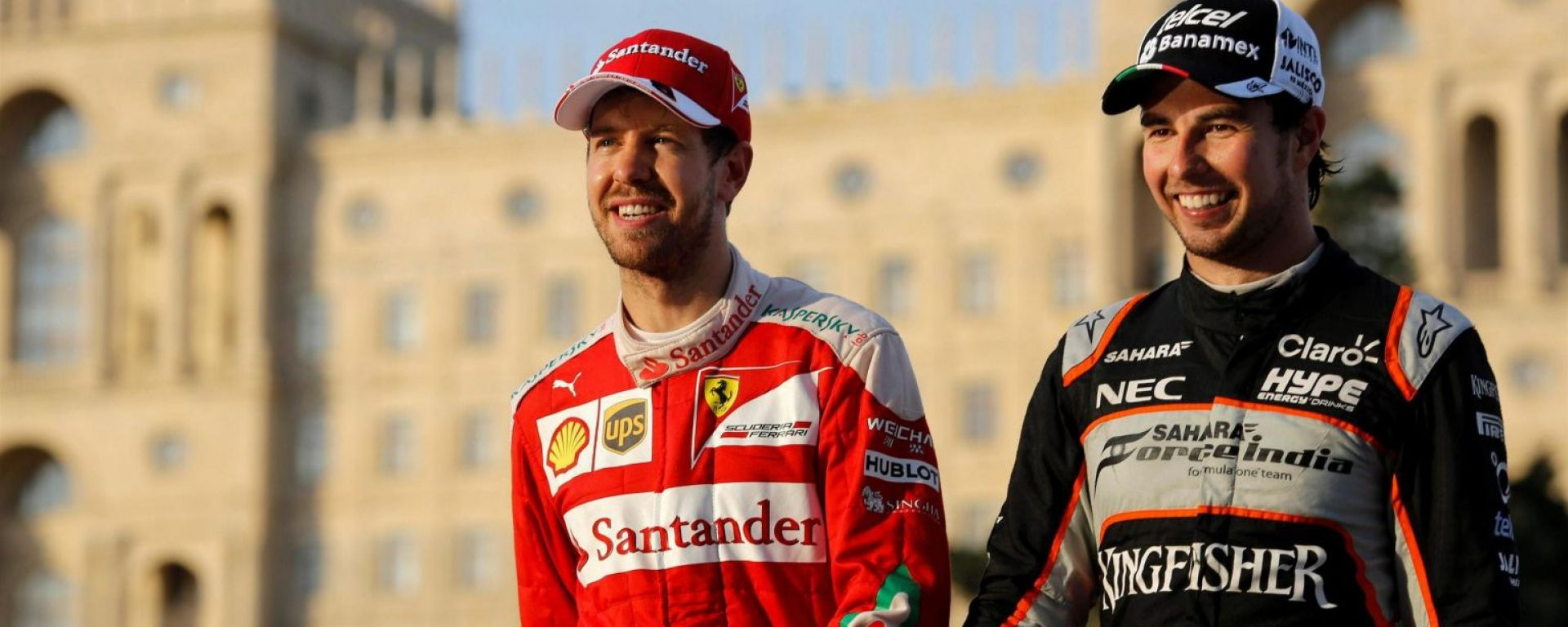 Sebastian Vettel and Sergio Perez at Baku Circuit