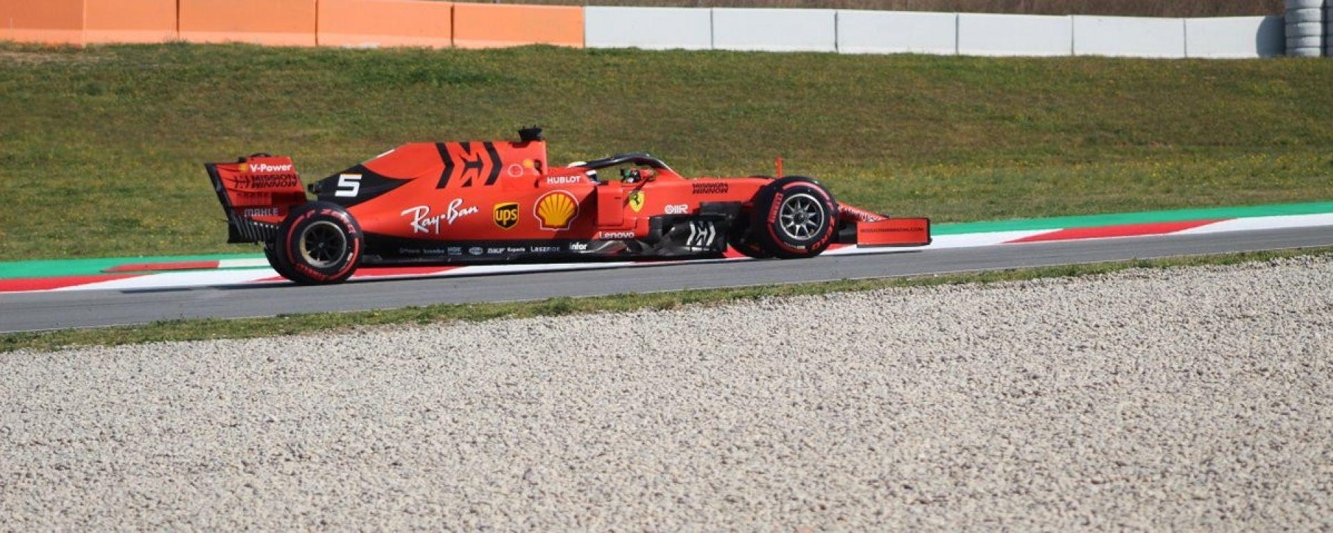 Sebastian Vettel con gomme Soft nel corso dei test F1 Barcellona 2019