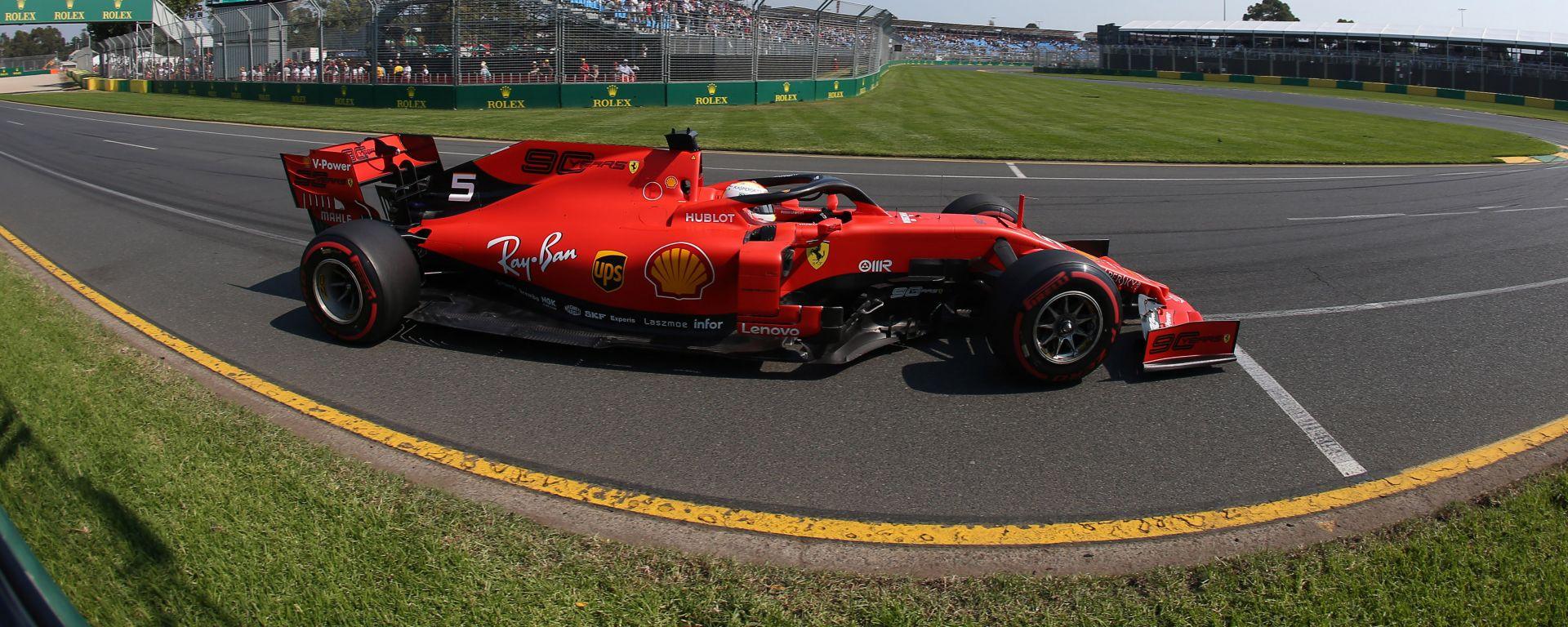 Sebastian Vettel durante le qualifiche del Gp Australia 2019