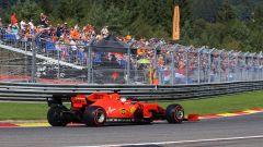 Sebastian Vettel (Ferrari) in pista a Spa