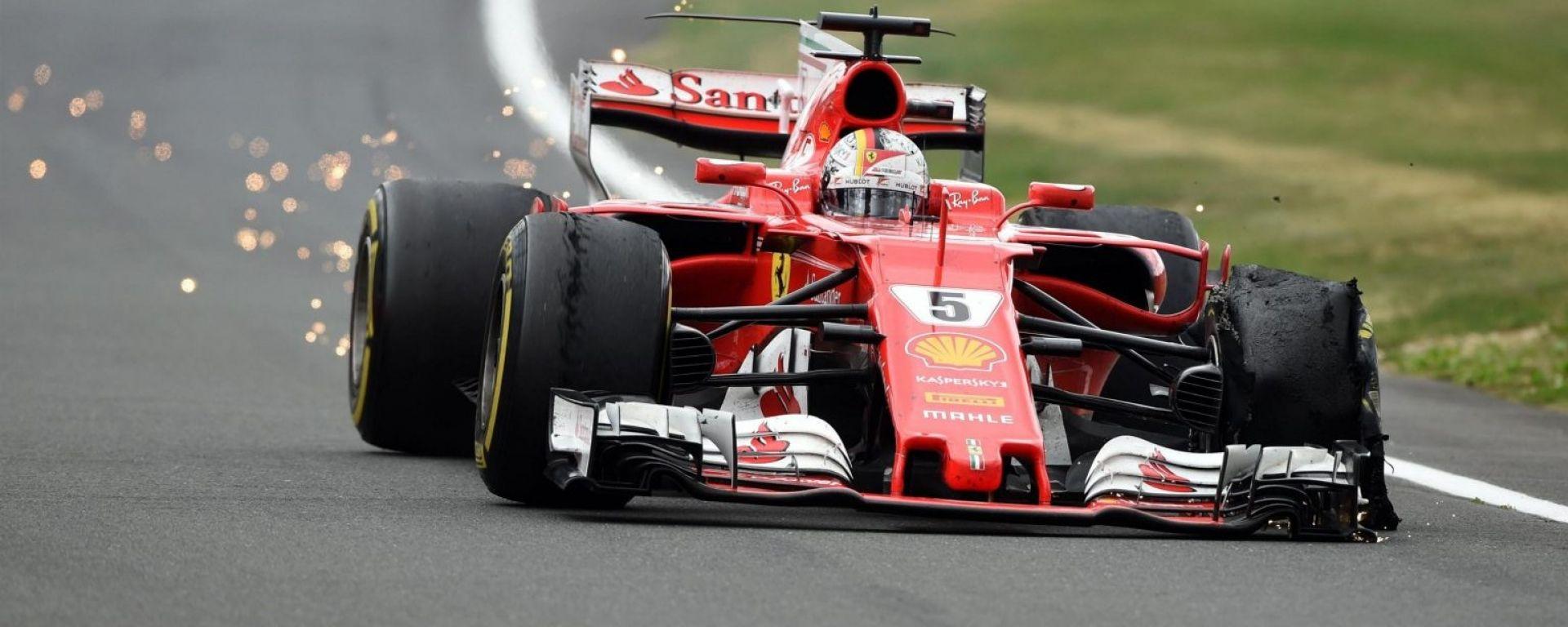Sebastian Vettel, foratura al 50esimo giro