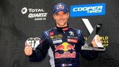 Sebastien Loeb festeggia l'ennesimo podio con la sua Peugeot 208 WRX - Team Hansen