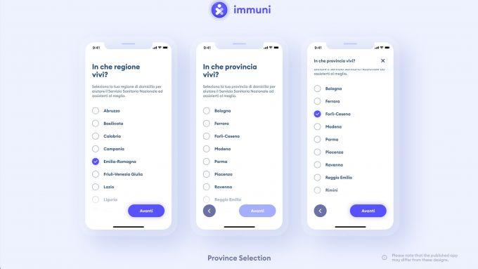 Selezione della provincia nella app Immuni