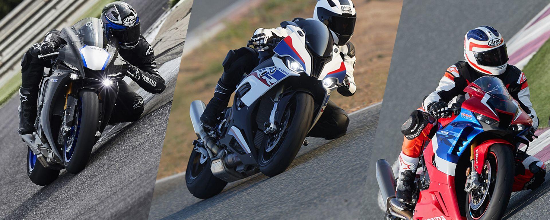 Sfida a tre: Yamaha YZF-R1M, BMW S 1000 RR M Performance e Honda CBR 1000 RR-R Fireblade SP 2020