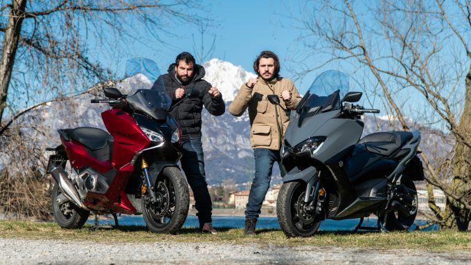 Sfida Yamaha T-Max 560 contro Honda Forza 750, sfida tesa anche tra i testrer
