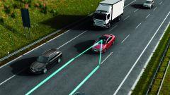 Skoda: immagine del funzionamento del Lane Assist, mantenitore di corsia