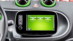 Smart ForFour Electric Drive 2017: nello schermo centrale sono riportate tutte le info green
