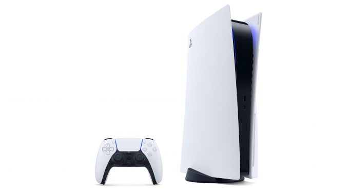 Sony PlayStation 5 in posizione verticale con il pad