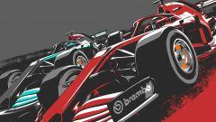 Sorpasso in frenata Ferrari-Mercedes poster by Brembo