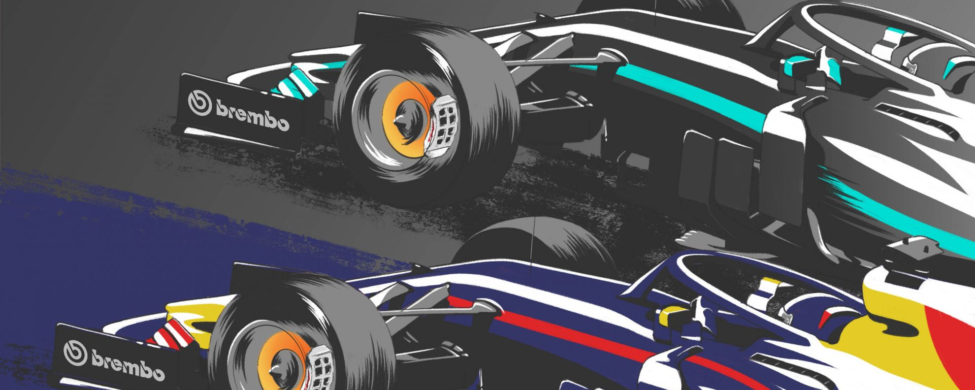 Sorpasso Mercedes - Red Bull by Brembo