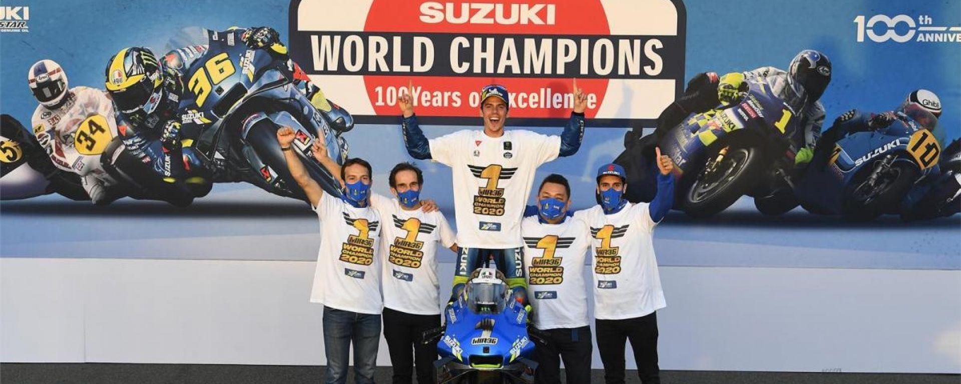 Suzuki festeggia il titolo mondiale 2020 di Joan Mir nell'anno del centenario