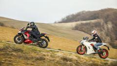 Suzuki GSX-S1000F e Ducati Supersport S: un momento delle riprese