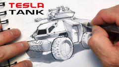 Tesla carro armato, il disegno di Eric Strebel