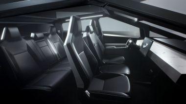Tesla Cybertruck: gli interni del mastodontico pick-up 100% elettrico