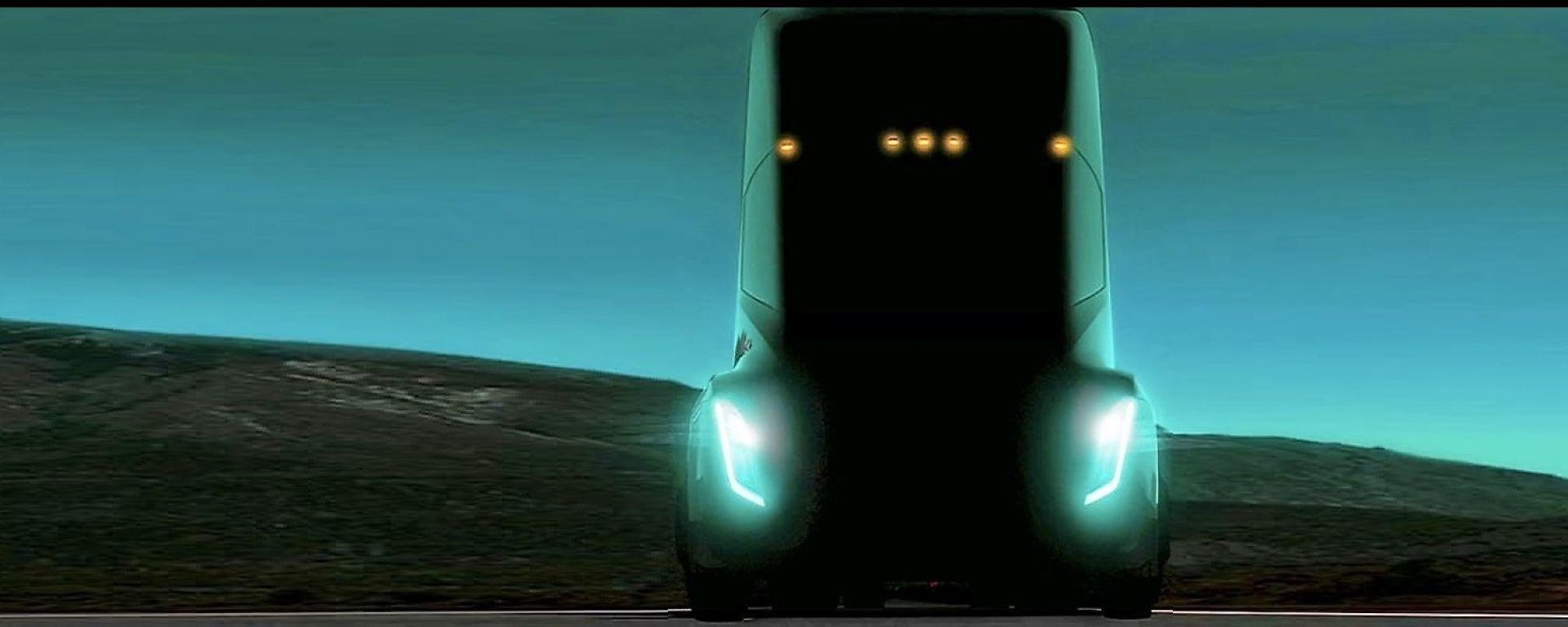 Tesla: il frontale del futuro camion elettrico