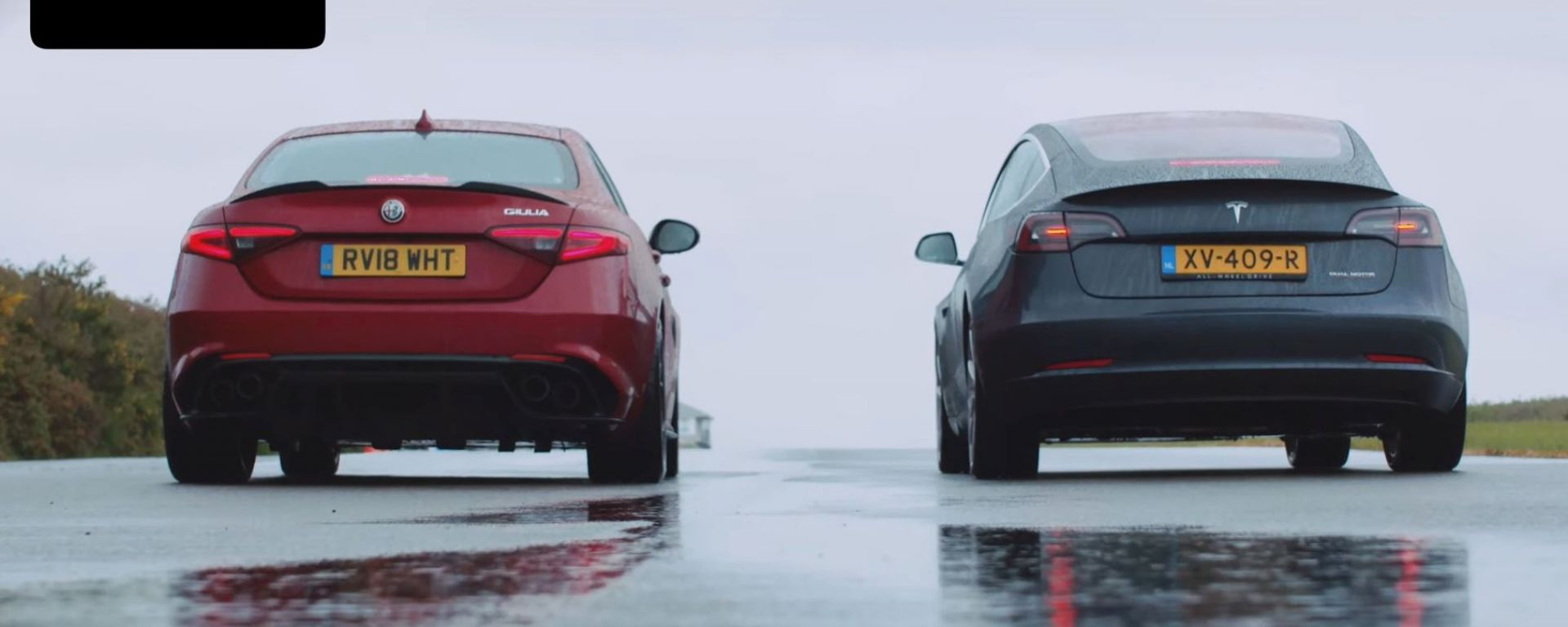 Tesla Model 3 vs Giulia Quadrifoglio drag race