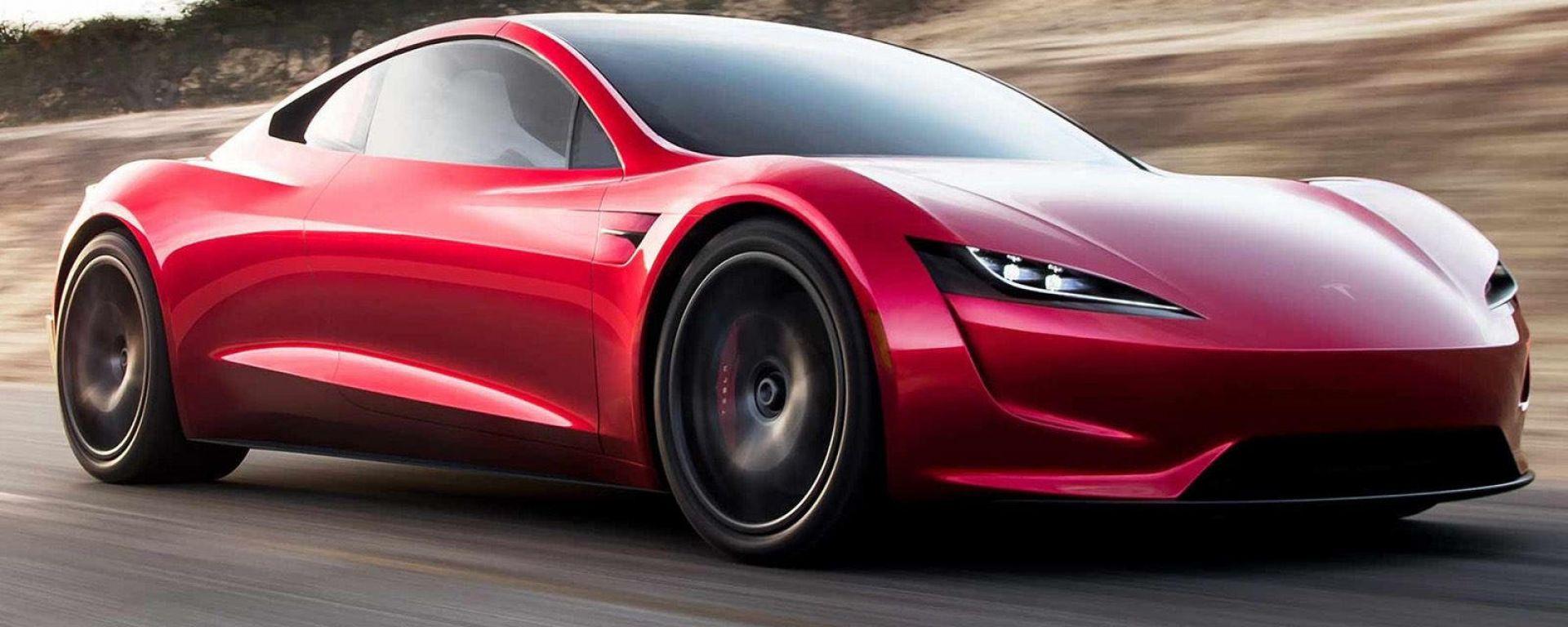 Tesla Roadster con il pacchetto SpaceX: visuale di 3/4 anteriore