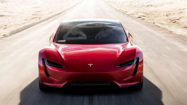 Tesla Roadster con il pacchetto SpaceX: visuale frontale