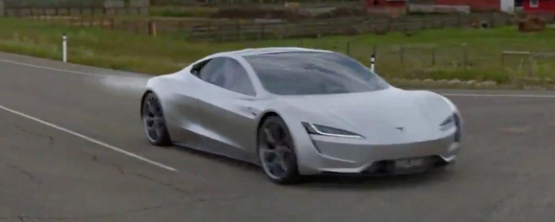 Tesla Roadster SpaceX veloce come un razzo: il video rendering