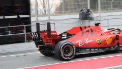 Test F1 Barcellona 2019, un dettaglio del retrotreno sulla Ferrari di Vettel