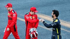 Test F1 Barcellona 2020, Charles Leclerc e Sebastian Vettel (Ferrari), Daniel Ricciardo (Renault)