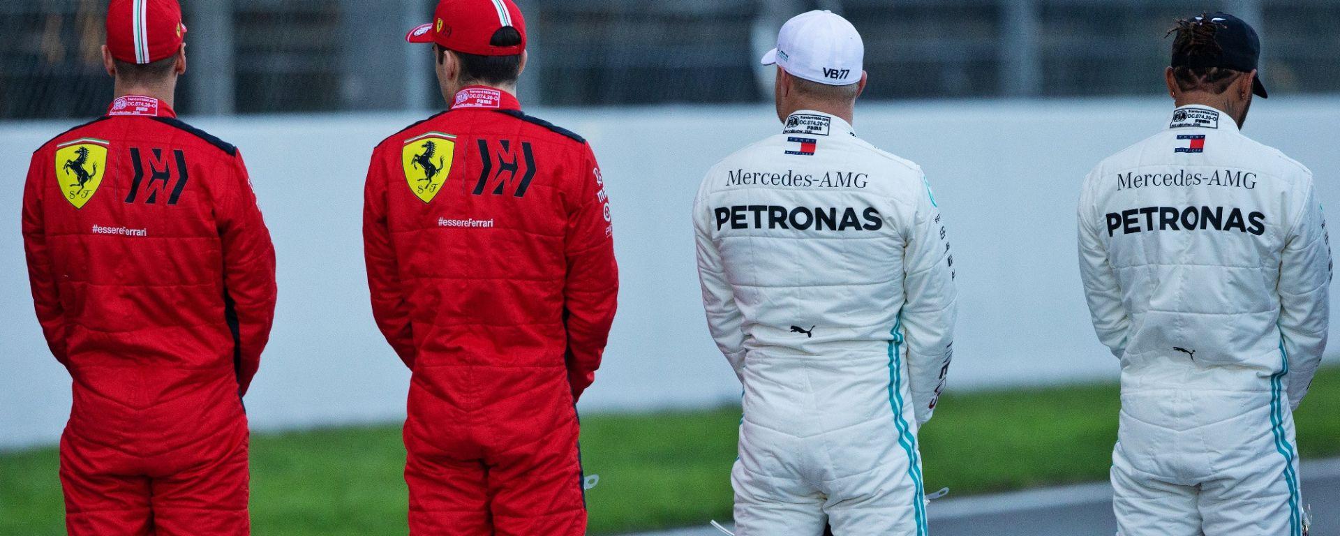 Test F1 Barcellona 2020: Sebastian Vettel e Charles Leclerc (Ferrari), Valtteri Bottas e Lewis Hamilton (Mercedes)