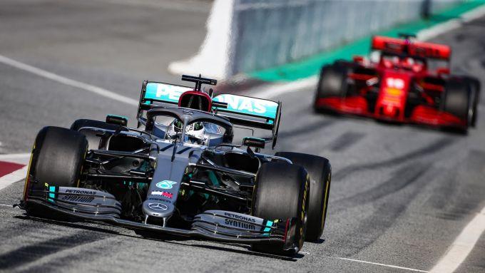 Test F1 Barcellona 2020, Valtteri Bottas (Mercedes), Charles Leclerc (Ferrari)
