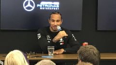 Test F1 Barcellona, Lewis Hamilton (Mercedes) in conferenza stampa