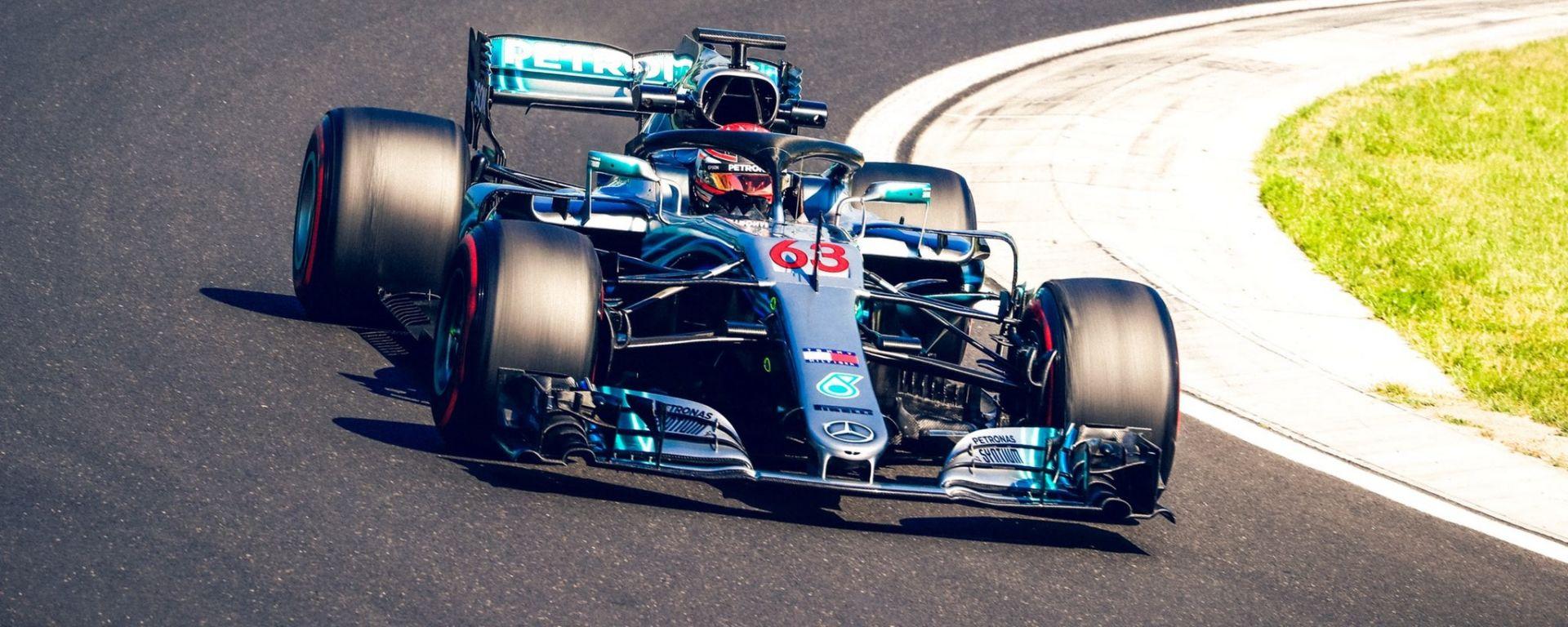 Test Hungaroring 2018, seconda giornata, George Russell in azione con la Mercedes