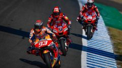 Test MotoGP Jerez 2020, Marc Marquez (Honda) precede Danilo Petrucci e Andrea Dovizioso (Ducati)